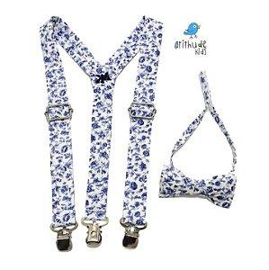 Kit suspensório + gravata borboleta - Floral Azul