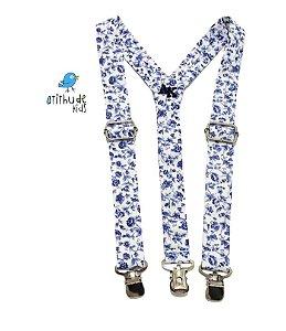 Suspensório Floral Azul