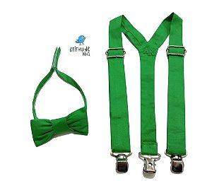 Kit suspensório + gravata borboleta - Verde