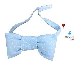 Gravata Borboleta - Azul Bebê Poá