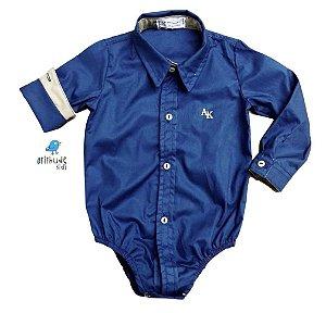 Camisa Nicolas - Azul marinho e bege