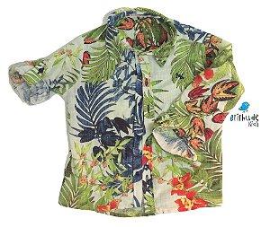 Camisa Marvin - Estampa Folhas e Flores (LINHO)