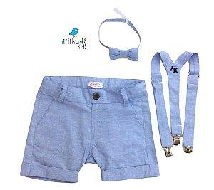 Conjunto Fausto - Linho Azul Bebê (três peças) | LINHO