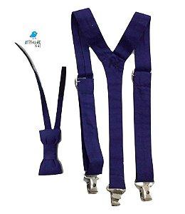 Kit suspensório + gravata borboleta - Azul Marinho