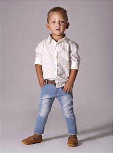 Calça Estevão - Jeans claro raspadinha  | Com elastano