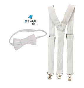 Kit suspensório + gravata borboleta -  Listrado Cinza