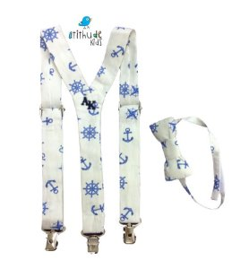 Kit suspensório + gravata borboleta - Off-White com Âncoras