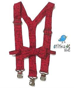 Kit suspensório + gravata borboleta - Estampado Vermelho