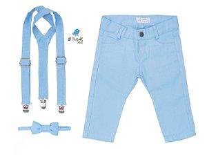 Conjunto Joaquim -  Azul Bebê (calça e suspensório/gravata) | Sarja