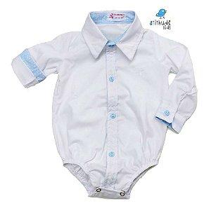 Camisa Justin - Branca com Poá Azul Bebê