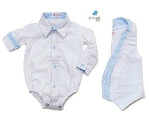 Conjunto Justin - Branco com detalhe azul bebê poá  (camisa e colete)