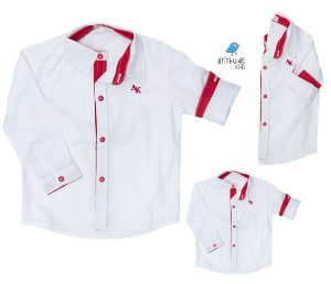 Kit camisa Alcides - Família (três peças) | Vermelha