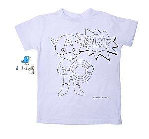 Camiseta para pintar (branca) - Capitão América