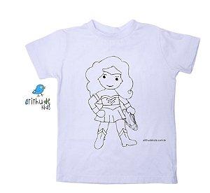 Camiseta para pintar (branca) - Mulher Maravilha