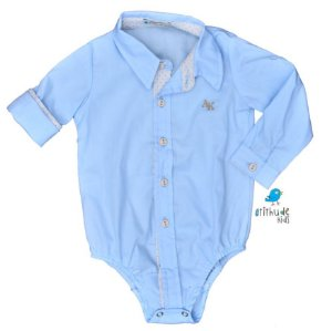 Camisa Edu - Azul Bebê com detalhes em bege poá