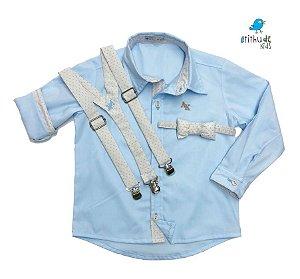Conjunto Edu - Azul Bebê com detalhes em bege poá (3 peças)