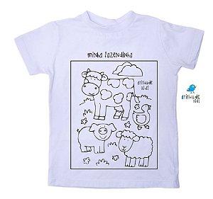 Camiseta para pintar (branca) - Minha Fazendinha
