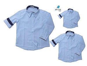 Kit camisa Guido - Família (três peças)  | Poá azul bebê