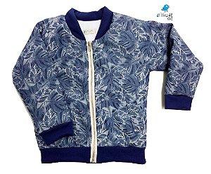 Jaqueta Bomber - Azul estampada