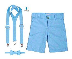 Conjunto Joaquim - Bermuda Azul Bebê e Kit Supensorio  (três peças)