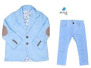 Conjunto Joaquim  - Sarja Azul Bebê - Blazer e calça (2 peças)