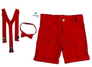 Conjunto Pablo - Bermuda Vermelha e Kit Supensório  (três peças)