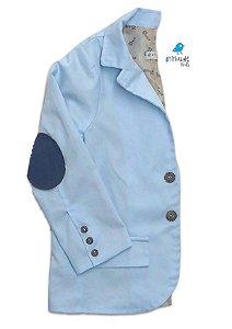 Blazer Cássio - Azul bebê (com forro) | Com cotoveleira azul jeans