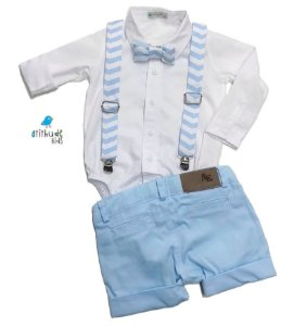 Conjunto Otto - Camisa Branca e Bermuda Azul Bebê (quatro peças) | Batizado