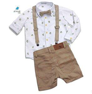 Conjunto Meu Príncipe - Camisa e Bermuda (4 peças )| Branca e Bege | Pequeno Príncipe