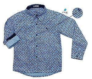 Camisa Cauê - Azul estampada