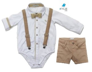 Conjunto Rocco - Camisa Branca e Bermuda Bege (quatro peças) | Batizado