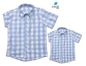 Kit camisa Cadú - Tal pai, tal filho (duas peças) | Xadrez Azul Claro | Fazendinha