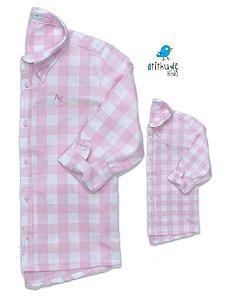 Kit camisa Cadú - Tal pai, tal filho (duas peças) | Xadrez Rosa Claro