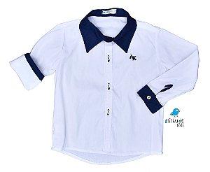 Camisa Antony - Branca com detalhes azul marinho