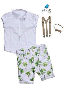 Conjunto Taylor - Camisa Branca e Bermuda estampada (quatro peças)