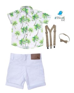 Conjunto Taylor - Camisa estampada e Bermuda branca (quatro peças)