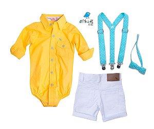 Conjunto Lucas - Camisa amarela e Bermuda branca (quatro peças) | Galinha Pintadinha