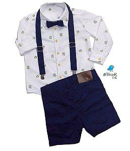 Conjunto Meu Príncipe - Camisa e Bermuda (4 peças )| Branca e Azul Marinho | Pequeno Príncipe