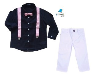 Conjunto Fábio - Camisa Preta e Calça Branca  (quatro peças) | Bita