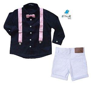 Conjunto Fábio - Camisa Preta e Bermuda Branca (quatro peças) | Bita