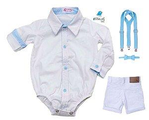 Conjunto Justin - Camisa e Bermuda Branca (quatro peças) | Batizado