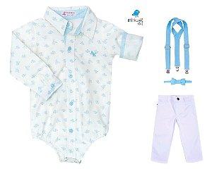 Conjunto Teddy - Camisa Estampada e Calça Branca (quatro peças) | Batizado