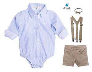 Conjunto Davi - Camisa Azul Listrada e Bermuda Bege (quatro peças) | Pajem