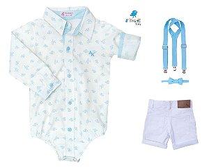 Conjunto Teddy - Camisa Estampada e Bermuda Branca (quatro peças) | Batizado