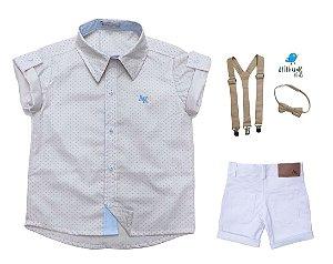 Conjunto Alec - Camisa Poá Bege e Bermuda Branca (quatro peças) | Pajem e Batizado