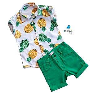 Conjunto Thiago - Camisa Abacaxi e Bermuda Verde