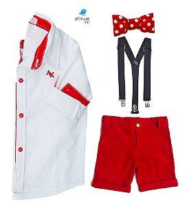Conjunto Alcides | Mickey - Camisa Branca e Bermuda Vermelha (quatro peças) | Mickey