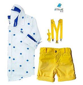 Conjunto Nathan - Camisa Branca e Bermuda Amarela (quatro peças) | Lego