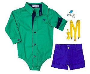Conjunto Henrique - Camisa Verde e Bermuda Azul Royal (quatro peças) | Lego