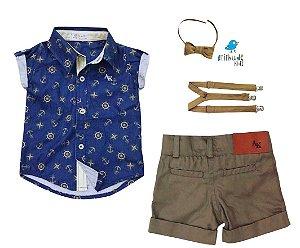 Conjunto Bruno - Camisa âncora e Bermuda bege café (quatro peças)  | Fundo do Mar